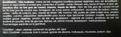 Tourte au Bloc de Foie Gras de Canard (Dinde et Marrons) - Inhaltsstoffe - fr