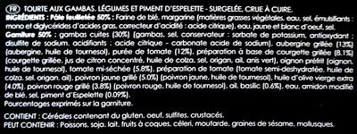 Tourte Gourmande aux Gambas - surgelée - Ingrédients - fr