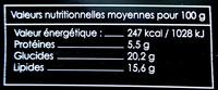 Tourte Gourmande aux Gambas - surgelée - Informations nutritionnelles - fr