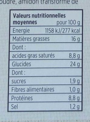 Paniers. Gourmands Jambon Fromage - Informations nutritionnelles