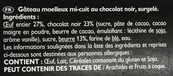 Mon Mi-Cuit gourmand au chocolat noir coeur coulant - Ingrédients