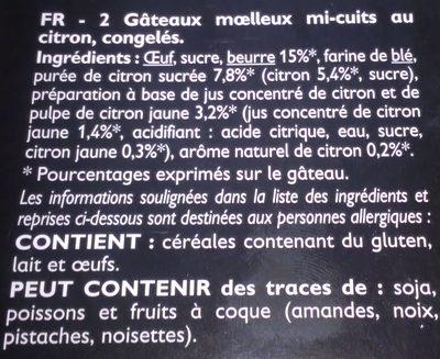 2 Cœurs Coulants au Citron - Ingredients - fr