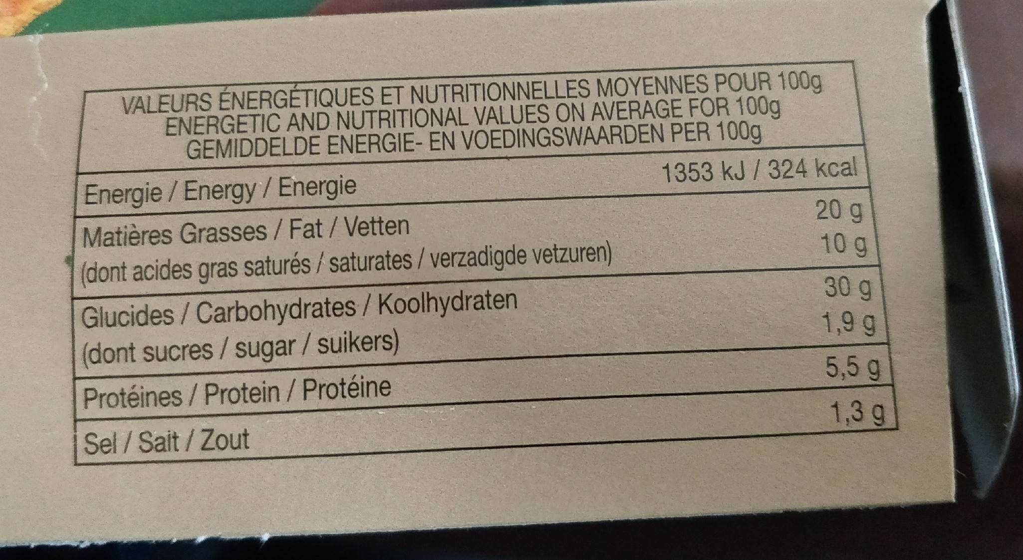 sapin en hiver - Nutrition facts