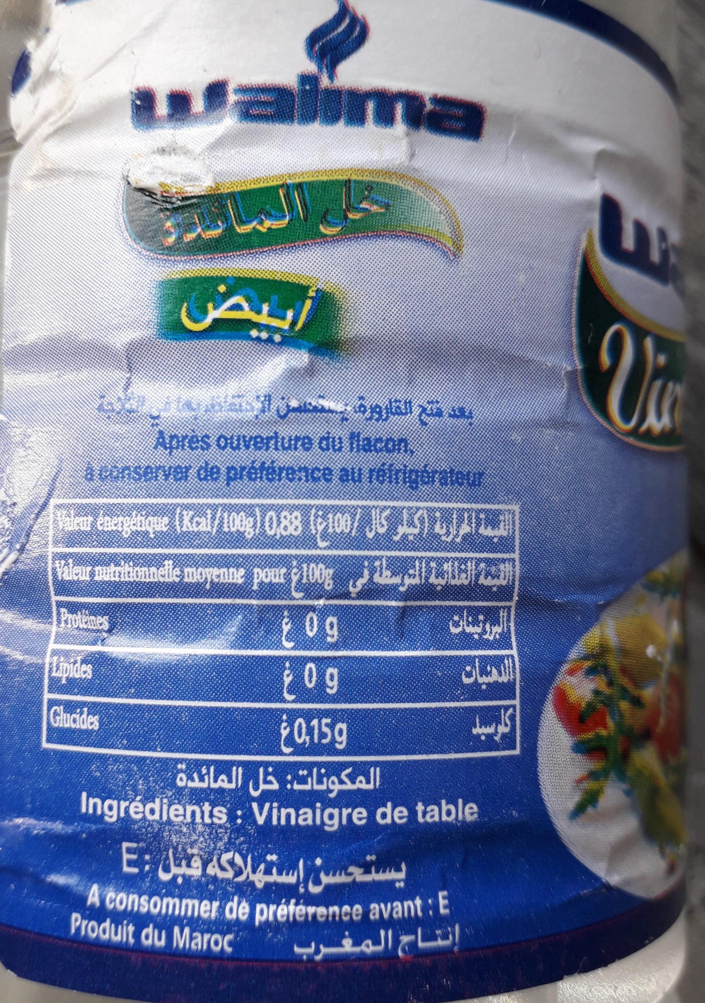 Vinaigre de table 6 - Ingredients