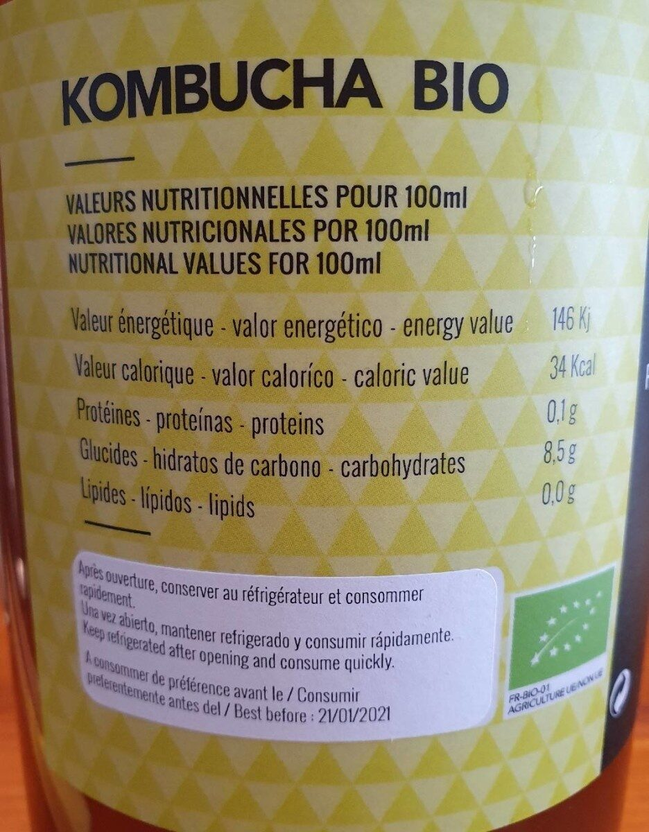 Kombucha - Informations nutritionnelles