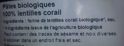 Pâtes biologiques 100% LENTILLES CORAIL - Ingrediënten