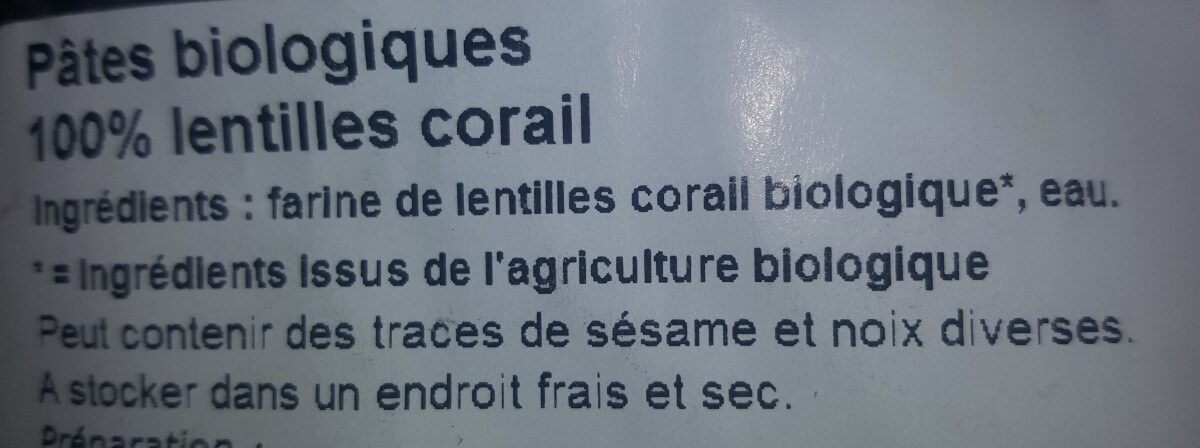 Pâtes biologiques 100% LENTILLES CORAIL - Ingrédients - fr