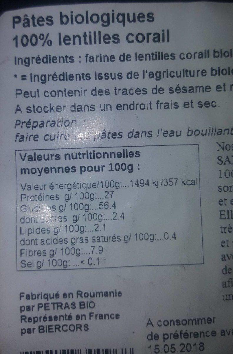 Pâtes biologiques 100% LENTILLES CORAIL - Informations nutritionnelles - fr