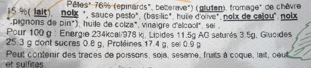 Salade De Pates Fraiches Au Fromage De Chevre - Ingrédients