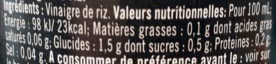 Vinaigre de riz - Informations nutritionnelles - fr