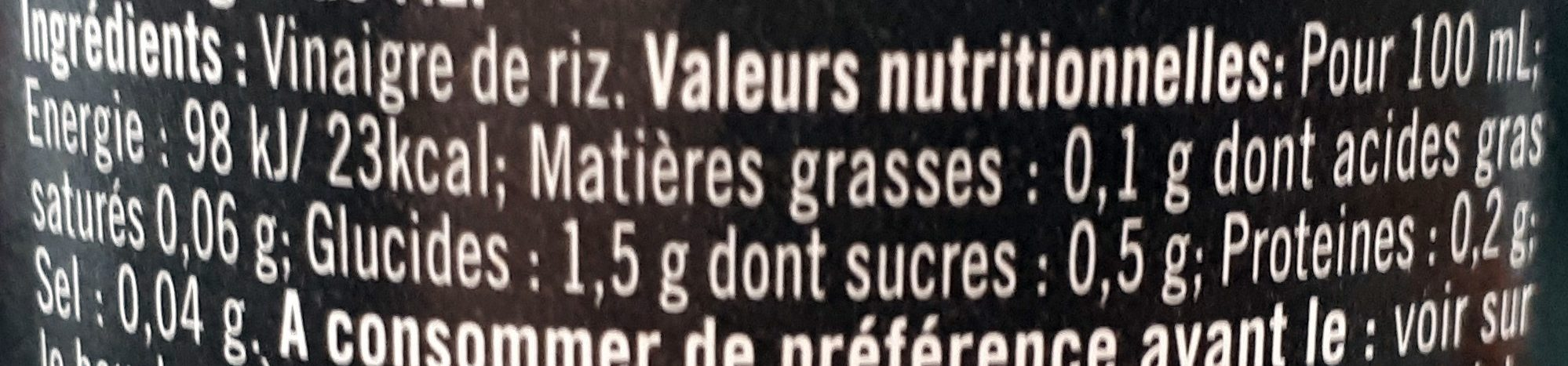 Vinaigre de Riz - Nutrition facts