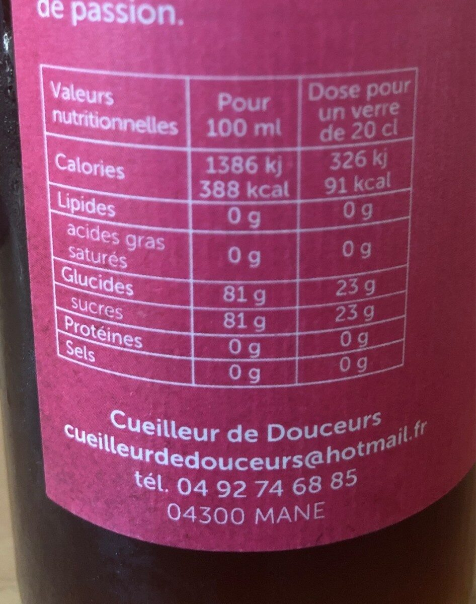 Sirop coquin - Informations nutritionnelles