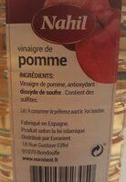 Vinaigre de pomme Nahil - Ingrediënten - fr