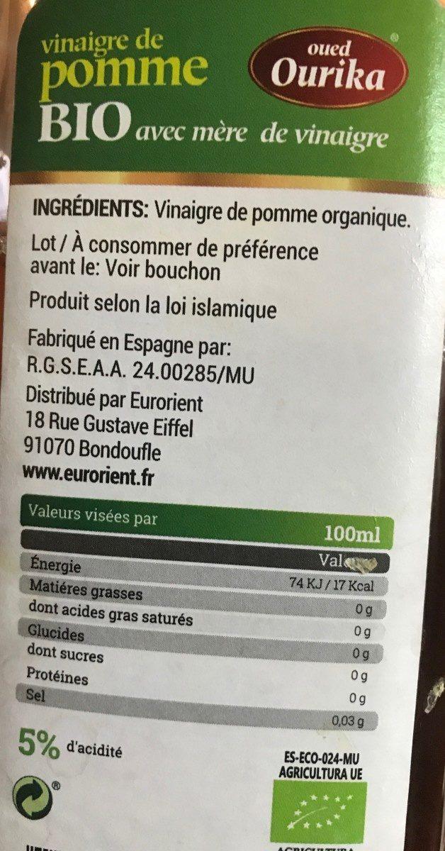 Vinaigre de pomme bio - Ingrediënten - fr