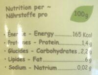 Lait De Coco Bio 6% - Informations nutritionnelles
