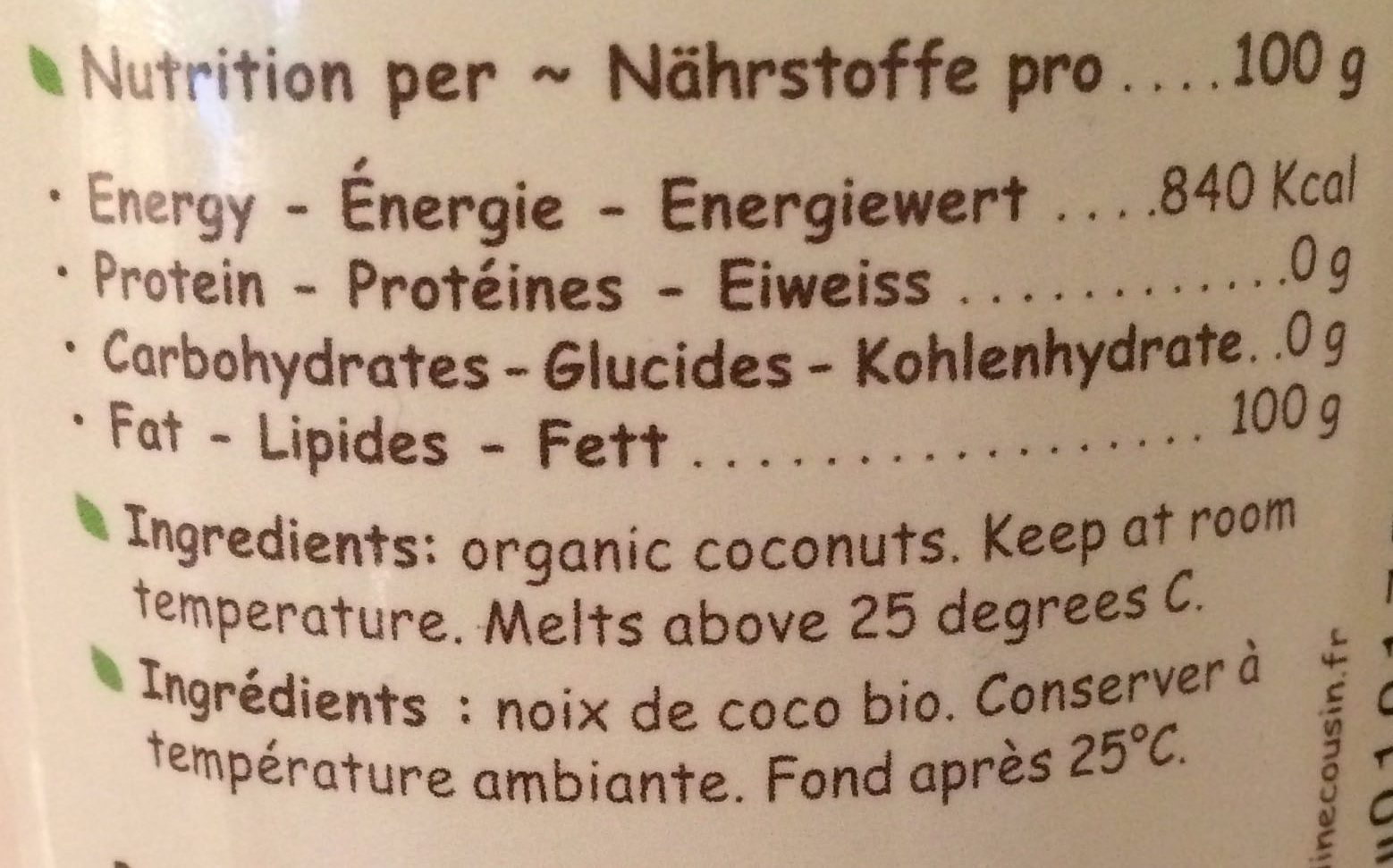 Virgin coconuts oil - Informations nutritionnelles