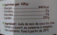 Huile Vierge De Coco Bio Crue - Informations nutritionnelles - fr