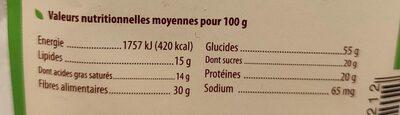 Farine Bio De Coco - Informations nutritionnelles - fr