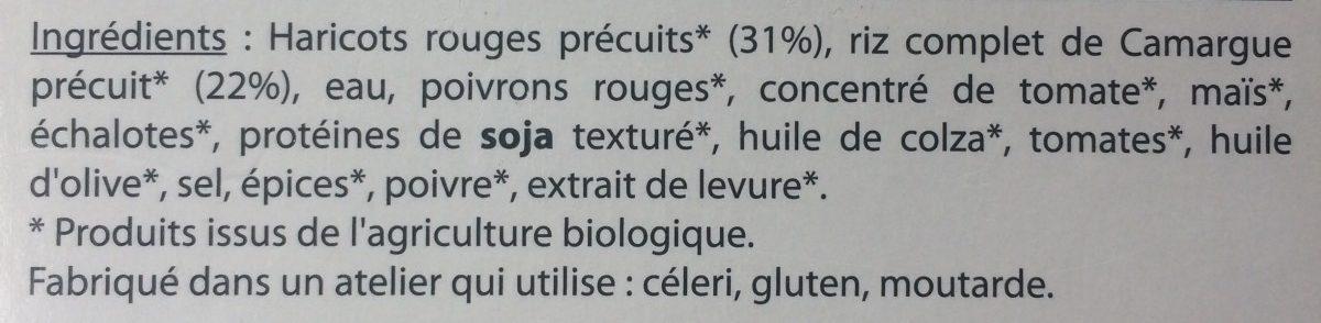 Mon Plat Bio - Chili Sin Carne - Ingrédients