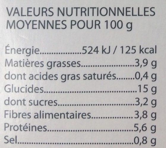 Mon Plat Bio - Chili Sin Carne - Informations nutritionnelles