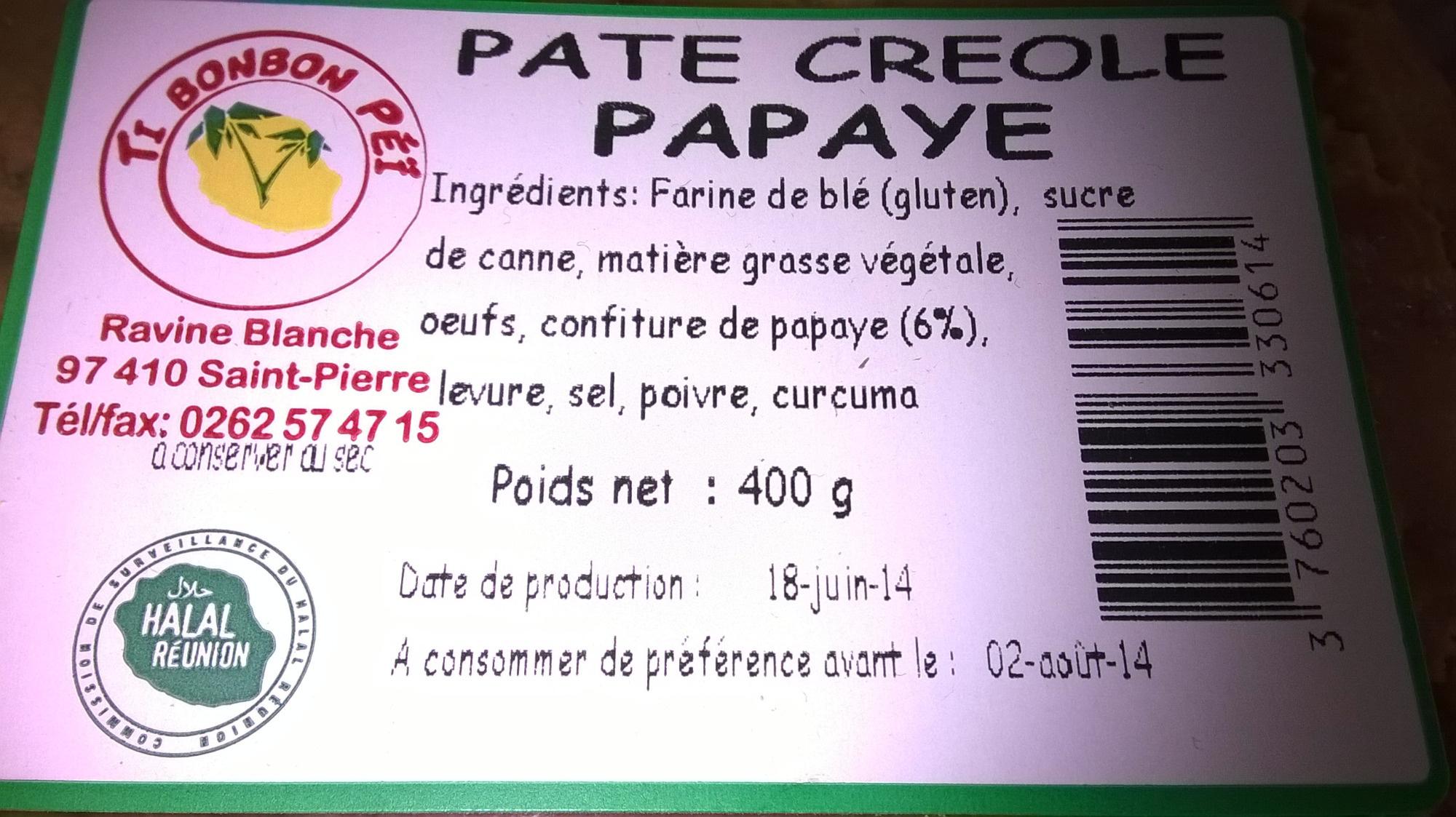 Pâté créole papaye - Ingredients