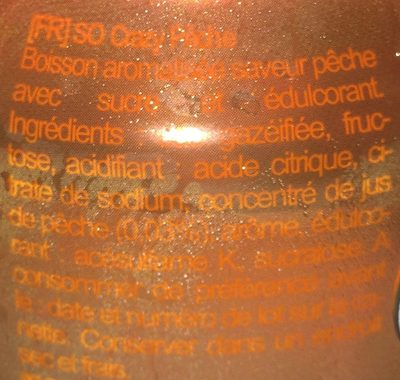 So Crazy finement pétillant saveur pêche - Ingrédients