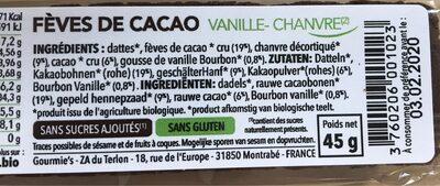 Barre de fruit cacao vanille - Ingredients