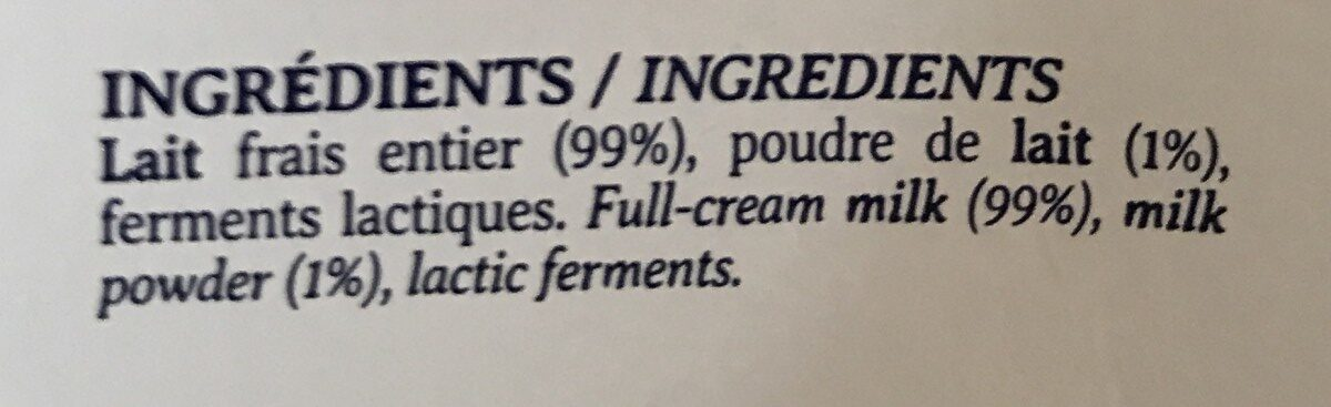 Yaourt nature - Ingredients - fr