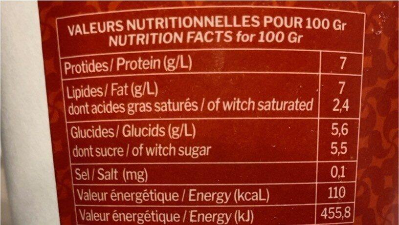 Fromage blanc artisanal campagne - Valori nutrizionali - fr