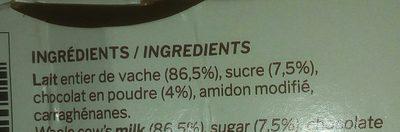 Crème dessert artisanale chocolat - Ingrédients - fr
