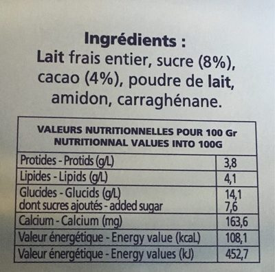 Creme dessert artisanale - Informations nutritionnelles - fr