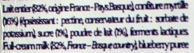 Yaourt artisanal Myrtille - Ingrédients