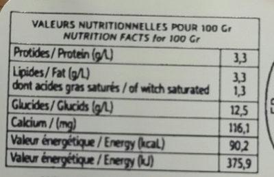 Yaourt artisanal Myrtille - Informations nutritionnelles