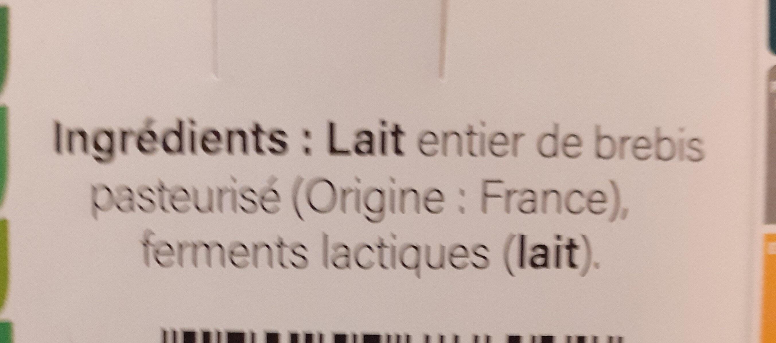 Yaourt d'Antan - Ingrediënten