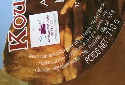 Kouign Amann - Nutrition facts