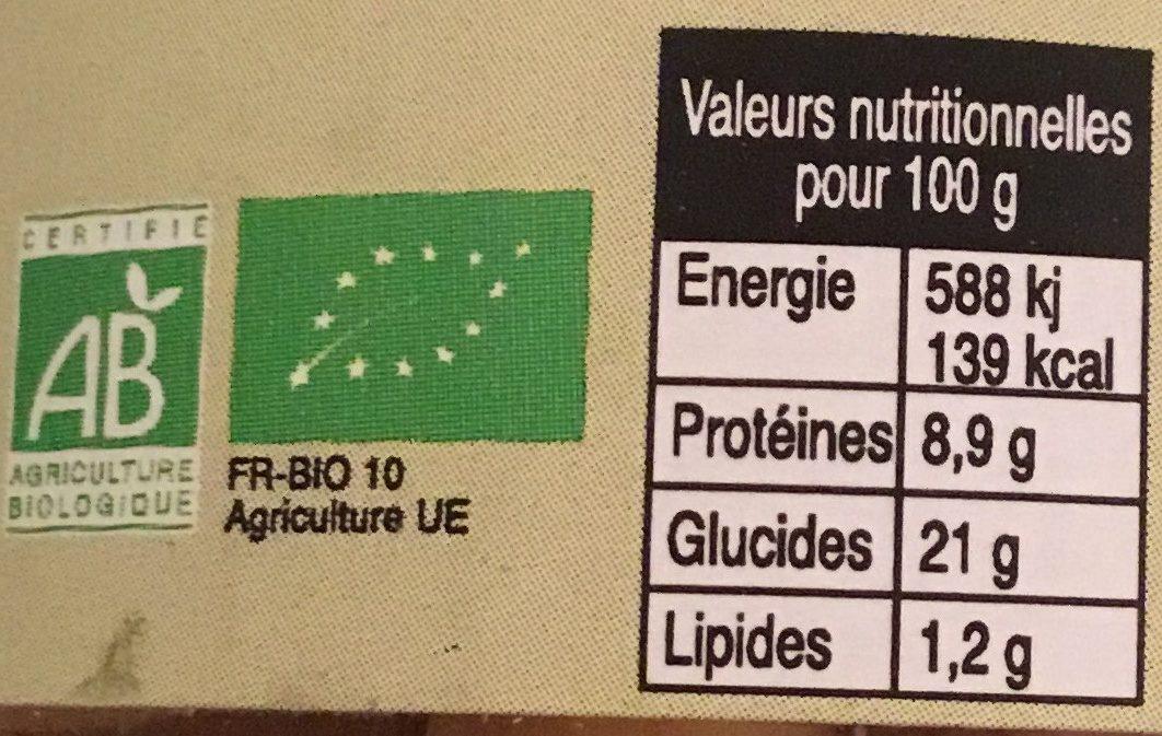 Pois chiches au naturel bio - Valori nutrizionali - fr