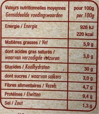 Pizza pâte fine au feu de bois Margarita - Informations nutritionnelles - fr