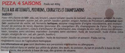 Pizza Pâte Fine Au Feu De Bois 4 Saisons - Ingrédients - fr