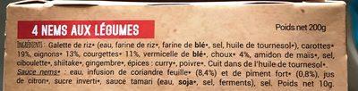 Nems Vegetarien X4 - Ingrédients - fr