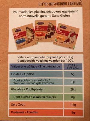 Frais & Primeur / Traiteur / Pâtes, Pizzas Et Tartes Bio - Nutrition facts