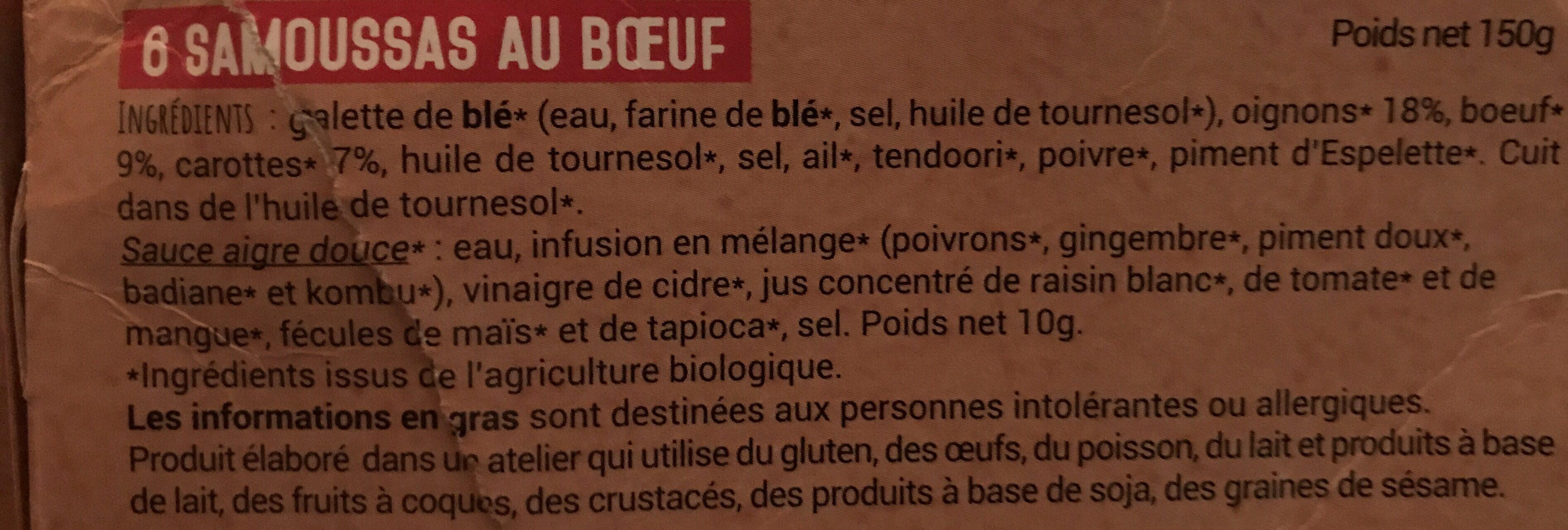 Samoussas au bœuf - Ingrédients - fr