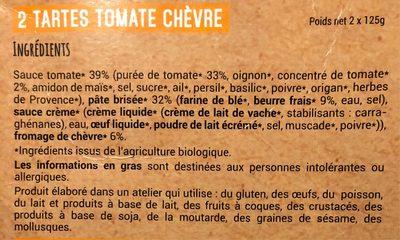 2 tartes individuelles Tomate chèvre affiné - Informations nutritionnelles - fr