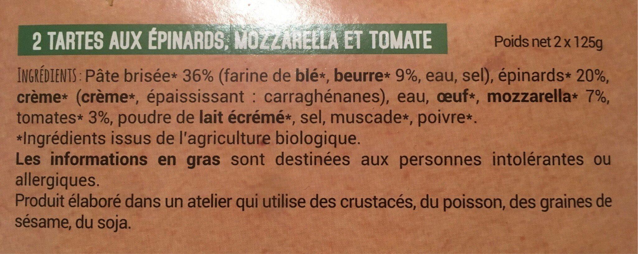 Tartes individuelles  aux épinards Mozzarella et  Tomate - Ingrédients - fr
