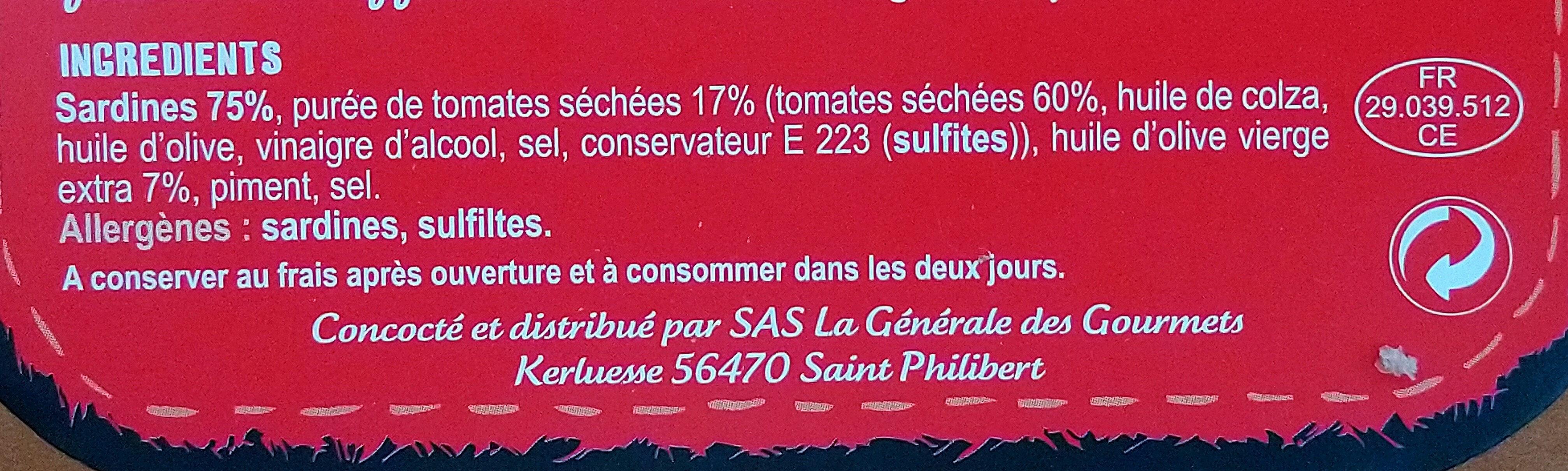 Sardines aux tomates séchées - Ingrédients - fr