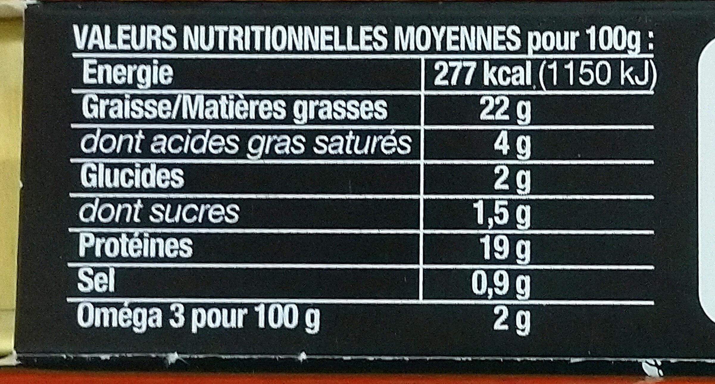 Sardines aux tomates séchées - Informations nutritionnelles - fr
