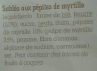 Sablés aux pépites de myrtille - Ingrédients - fr
