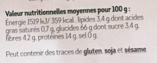 Fusilli à la farine de sarrasin complet - Informations nutritionnelles