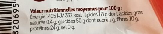Sedani farine d'azuki rouge - Informations nutritionnelles
