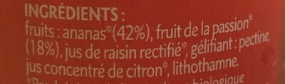 Préparation de fruits Ananas Passion bio - Ingrédients