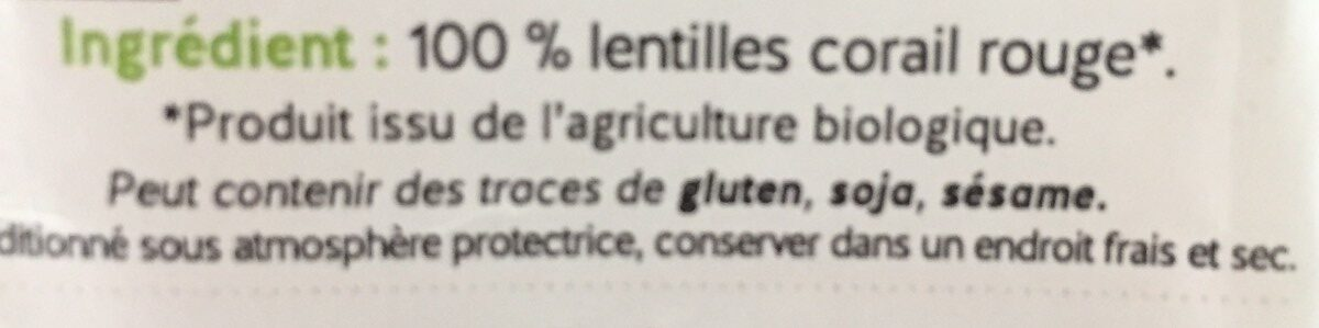 Lentilles corail bio - Ingredients - fr